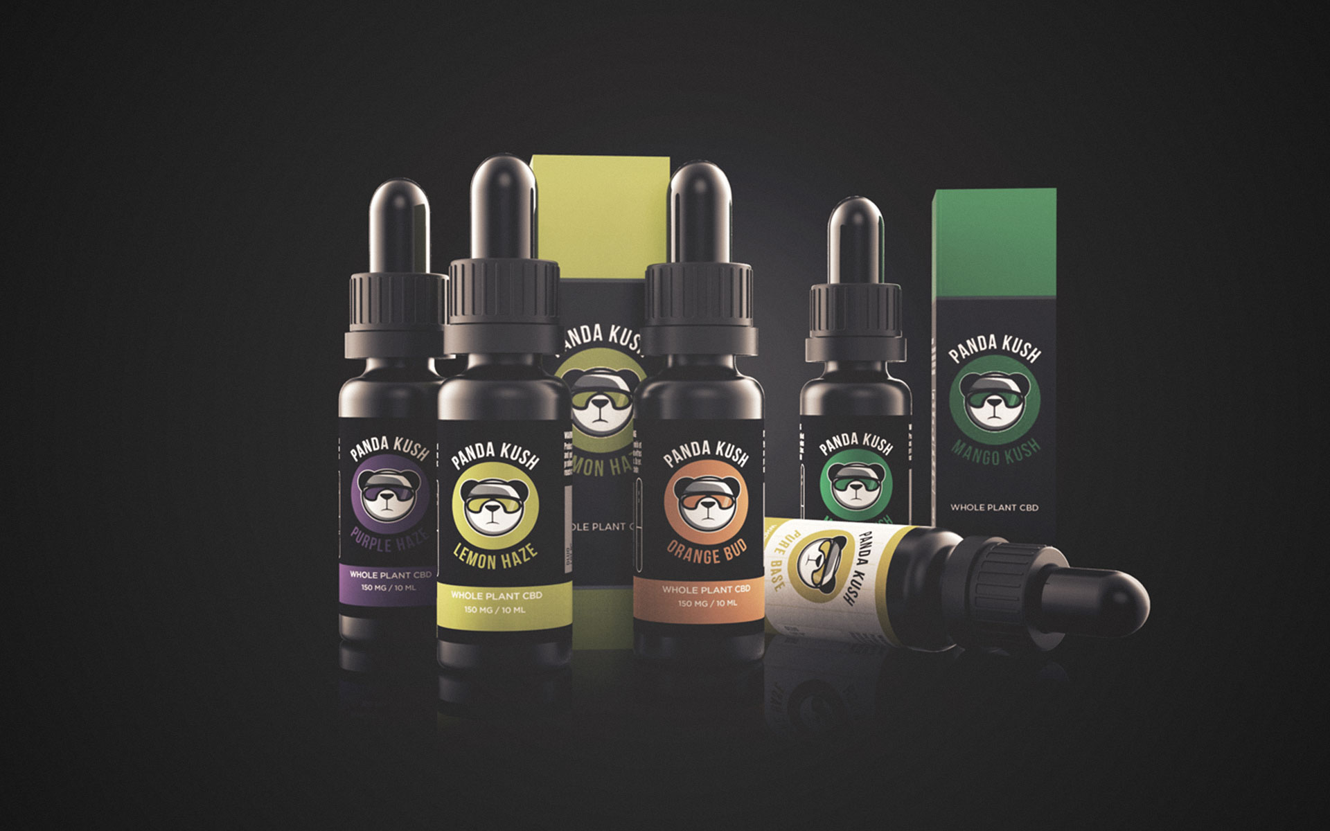 All panda kush CBD eliquid flavors and 2 boxes